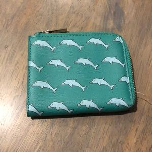 Urban Outfitters green dolphin mini wallet, NWOT